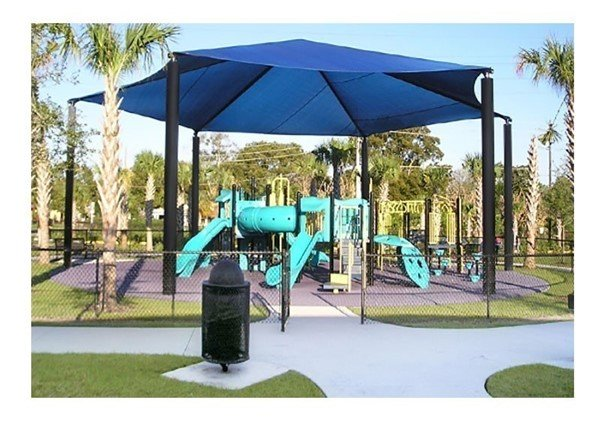 Hexagonal Fabric Hip End Shade Structure with 12 Ft. Entry Height
