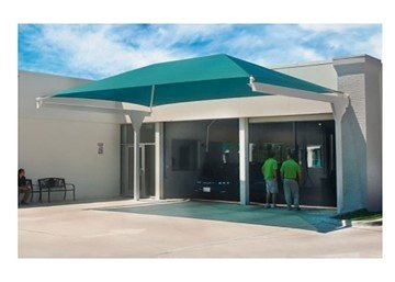 Rectangular Fabric Hanging Cantilever Shade Structure With 8 Ft. Entry Height