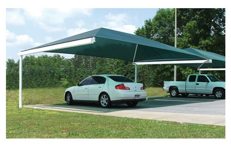 Rectangular Fabric Hanging Cantilever Shade Structure With