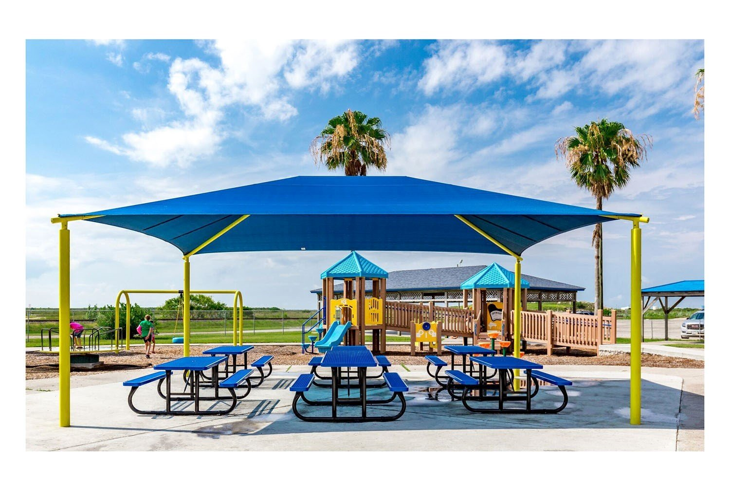 Rectangle Fabric Hip End Shade Structure With 8 Ft. Entry Height