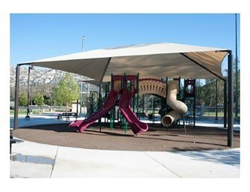 Rectangle Fabric Hip End Shade Structure With 12 Ft. Entry Height