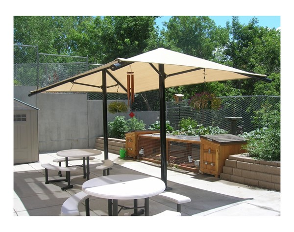 Rectangular Fabric Dual Column Umbrella Shade Structure With 8 Ft. Height