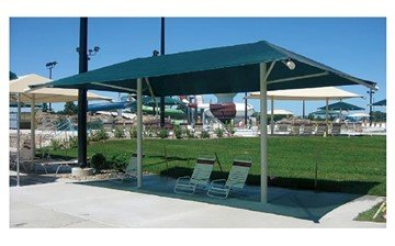 Rectangular Fabric Dual Column Umbrella Shade Structure With 8 Ft. Height