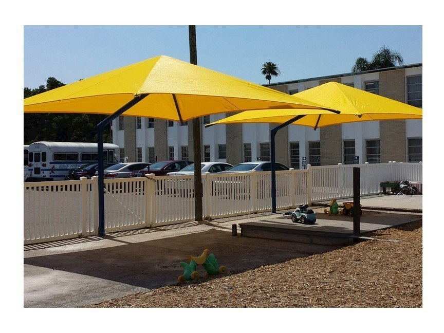 Square Fabric Cantilever Umbrella Shade Structure With 10