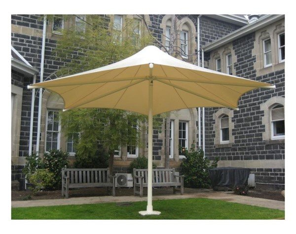 Hexagonal Fixed Waterproof Umbrella Shade Structure With Single Steel Center Post