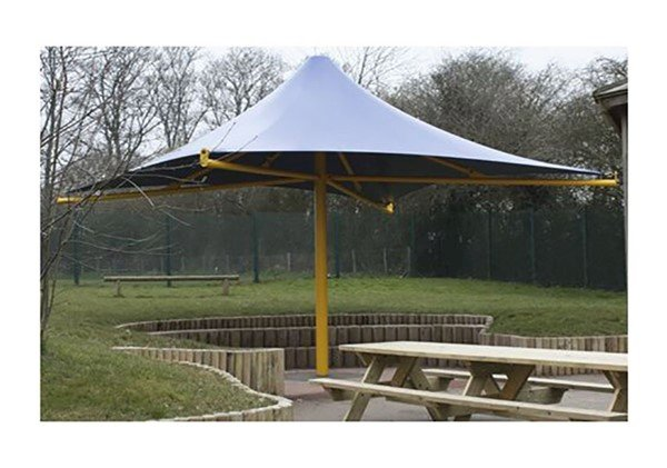 Square Fixed Waterproof Umbrella Shade Structure with Steel Center Post and Glide Elbows - 8' or 10' Height