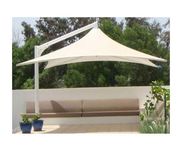 Square Waterproof Vista Cantilever Umbrella Shade Structure With Steel Center Post