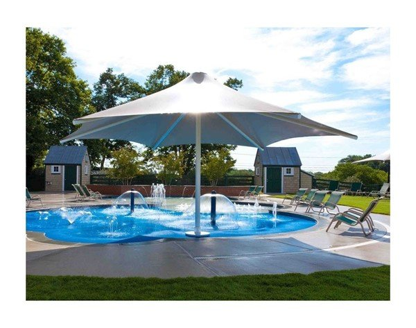 Hexagonal Waterproof Umbrella Shade Structure With Aluminum Frame And Crank - 14', 16', Or 18'