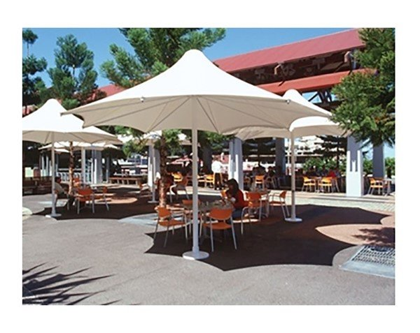 Hexagonal Waterproof Umbrella Horizon Shade Structure With Aluminum Frame - 14', 16', Or 18'