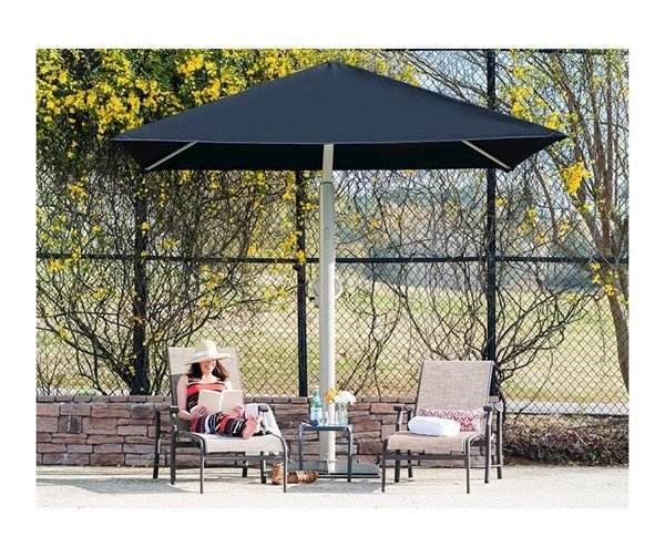 10' Square Portable Retractable Crank Cantilever Umbrella Shade Structure With 8 Ft. Entry Height And Sunbrella Fabric Canopy