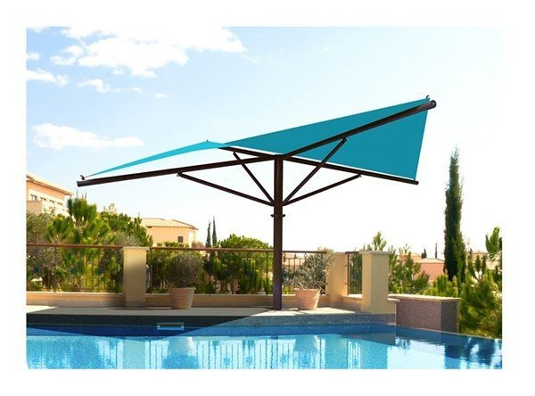 Hypar Umbrella Fabric Shade Structure with 8 Ft. Entry Height and Single Steel Post