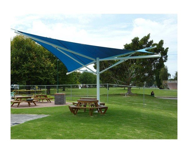 Hypar Umbrella Fabric Shade Structure with Single Steel Post
