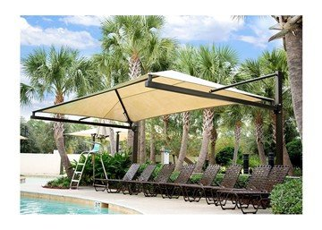 Custom Suspended Cantilever Fabric Shade Structure with Steel Frame