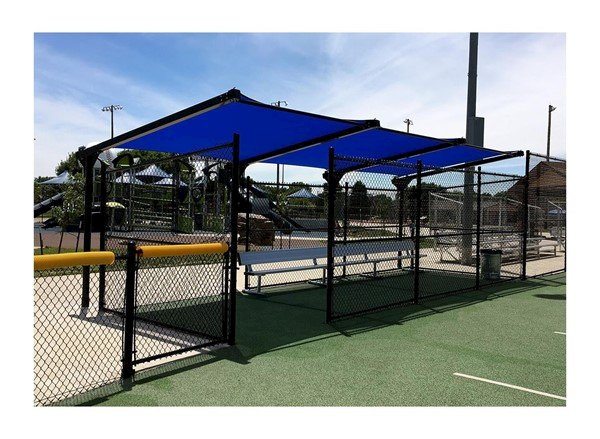 Custom Fabric Dugout Cantilever Shade Structure with Steel Frame