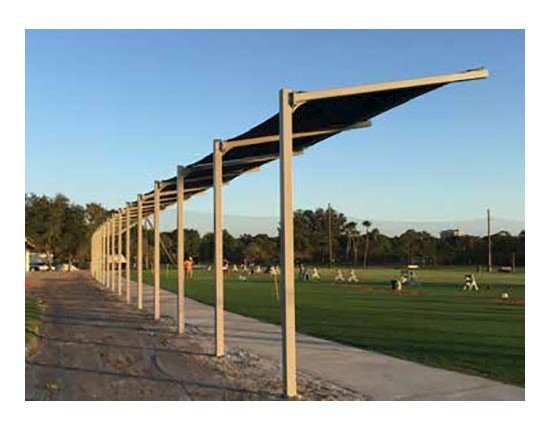 Custom Fabric Dugout Cantilever Shade Structure With Steel