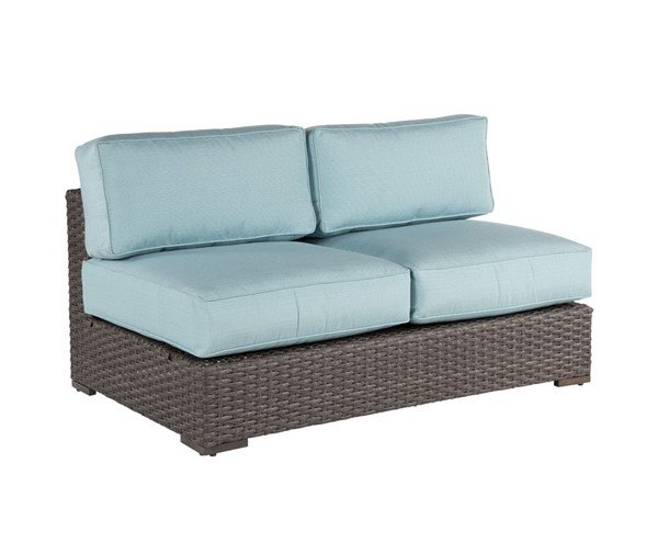 Georgia Armless Loveseat Deep Cushion Sectional Seating With Synthetic Wicker Covered Aluminum Frame