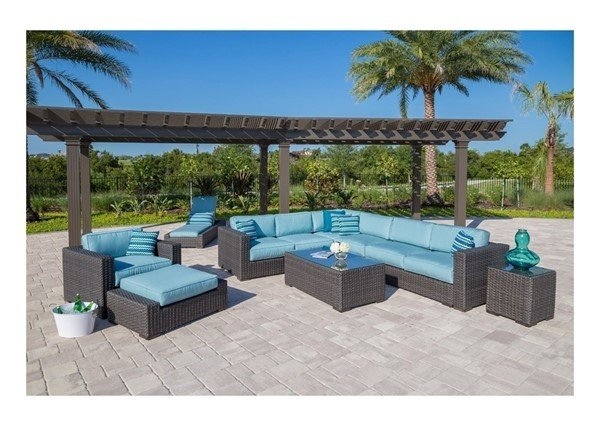 Georgia Modular Deep Cushion Seating Sectional Collections with Synthetic Wicker Covered Aluminum Frame