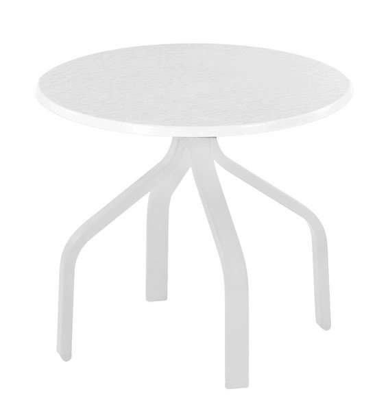"""Quick Ship 18"""" Round All WhiteFiberglass Side Table with Commercial Aluminum Frame for Chaise Lounges"""