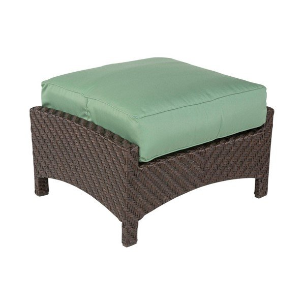 Palmer Deep Cushion Ottoman With Wicker Covered Aluminum Frame