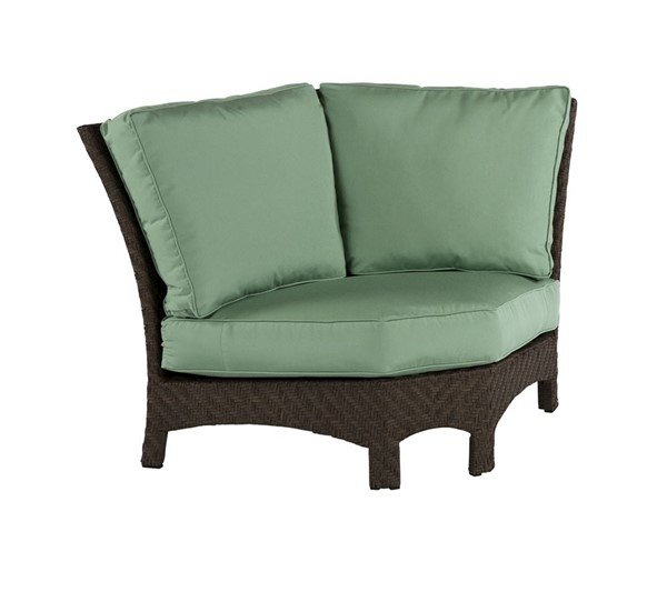 Palmer 45 Degree Sectional Wedge Corner Cushion Lounge Chair With Wicker Covered Aluminum Frame