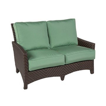 Palmer Cushion Loveseat With Wicker Covered Aluminum Frame