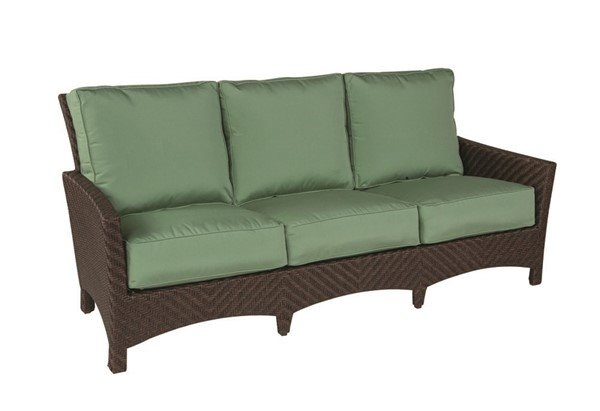Palmer Cushion Patio Sofa With Wicker Covered Aluminum Frame