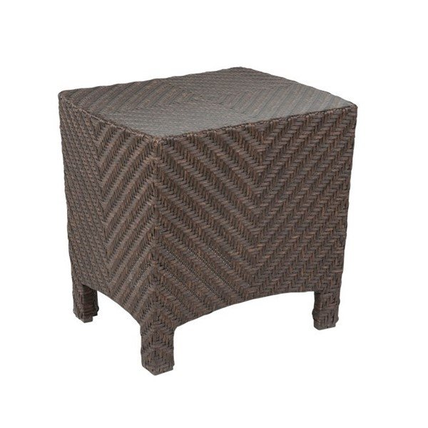 "Palmer 19"" x 22"" Wicker Covered Aluminum Side Table with Glass Top - 20 lbs."