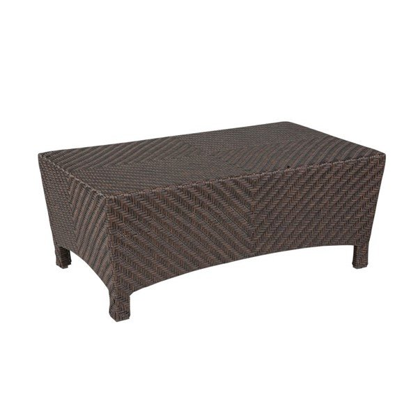 "Palmer 26"" X 44"" Wicker Covered Aluminum Coffee Table With Glass Top"