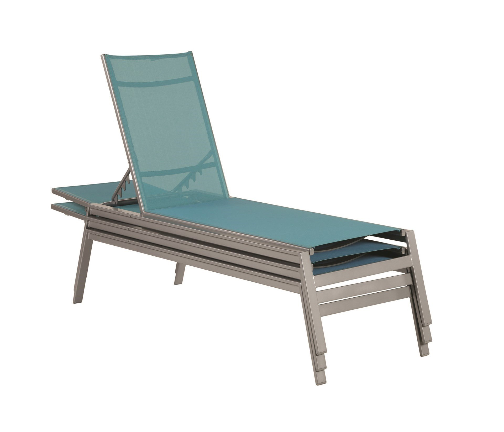 Skyway Sling Armless Chaise Lounge With Stackable Powder