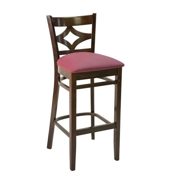 FS CON-02B Diamond Back Interior Wooden Restaurant Bar Chair with Vinyl Upholstered Seat