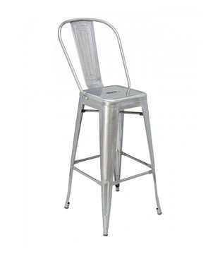 Industrial Interior Metal Restaurant Bar Chair - Clear Coat