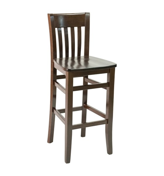 Traditional Interior Wooden Restaurant Bar Chair With Vinyl Upholstered Seat