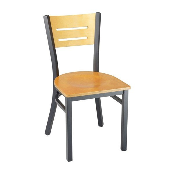 Modern Interior Restaurant Dining Chair With Black Metal Frame And Natural Wooden Seat