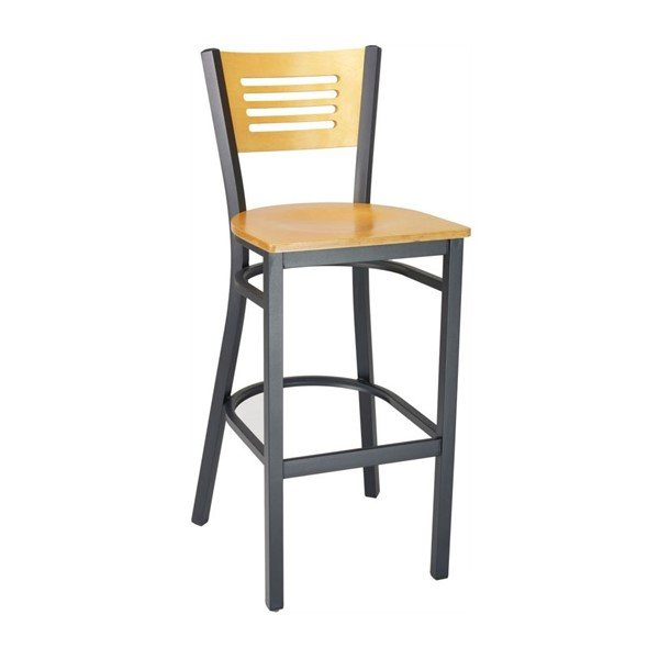 Modern Interior Restaurant Bar Chair With Black Metal Frame And Natural Wooden Seat