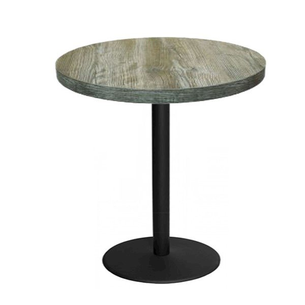 Indoor Restaurant Bar Height Table with Marco Top and Round Stamped Steel Base