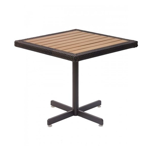 Outdoor Square Restaurant Dining Table With Wicker Edge Faux Teak Top And X Aluminum Base