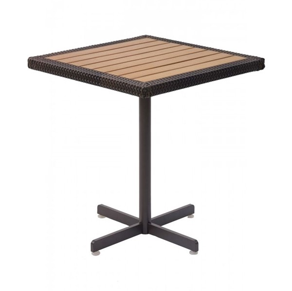 Outdoor Square Restaurant Bar Height Table With Wicker Edge Faux Teak Top And X Aluminum Base