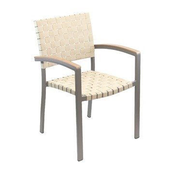 Uptown Outdoor Restaurant Dining Chair With Stackable Aluminum Frame And Wooden Or Mesh Belt Seat