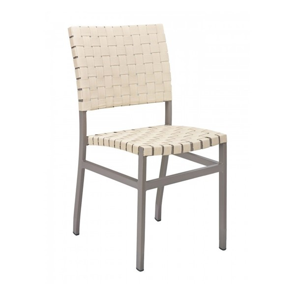 Uptown Outdoor Armless Restaurant Dining Chair With Stackable Aluminum Frame And Mesh Belt Seat