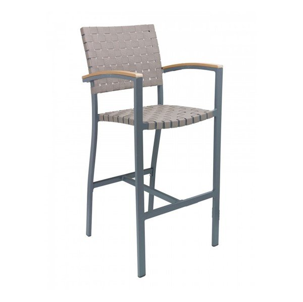 Uptown Outdoor Restaurant Bar Height Chair With Aluminum Frame And Mesh Belt Seat