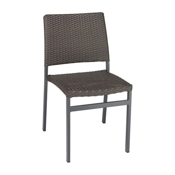 Trade Winds Outdoor Armless Restaurant Dining Chair With Stackable Aluminum Frame And PE Weave Seat