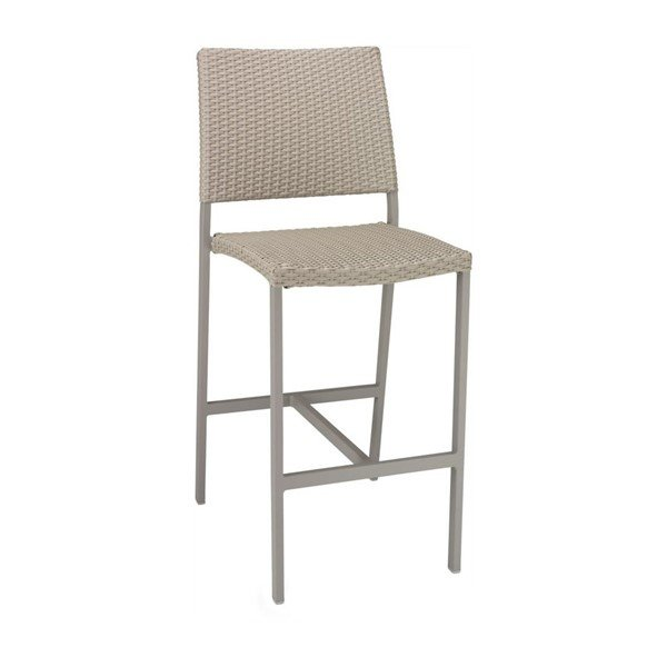 Trade Winds Outdoor Restaurant Armless Bar Height Chair With Aluminum Frame And PE Weave Seat