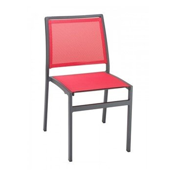 Candor Outdoor Restaurant Armless Dining Chair With Stackable Aluminum Frame And Sling Seat