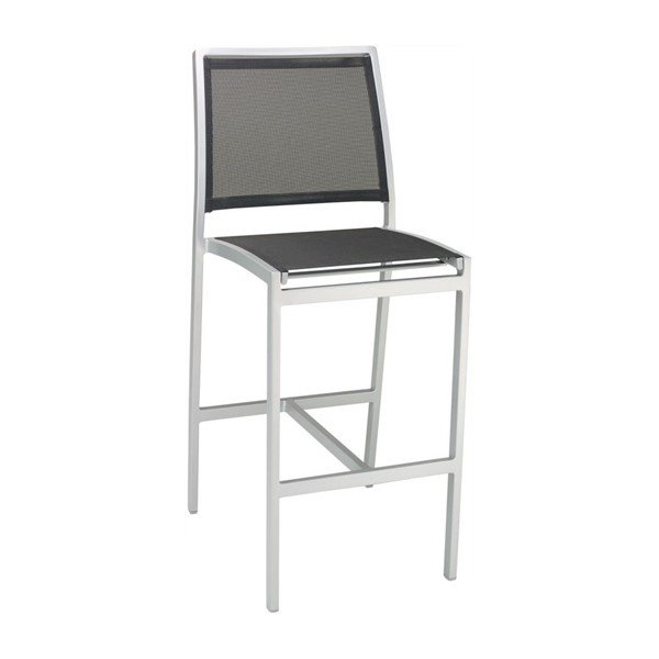 Candor Outdoor Restaurant Armless Bar Height Chair With Stackable Aluminum Frame And Sling Seat