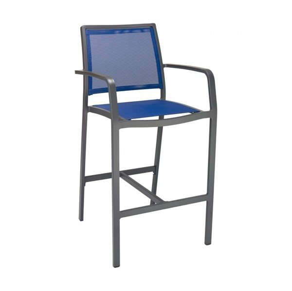 Candor Outdoor Restaurant Bar Height Chair With Aluminum Frame And Sling Seat