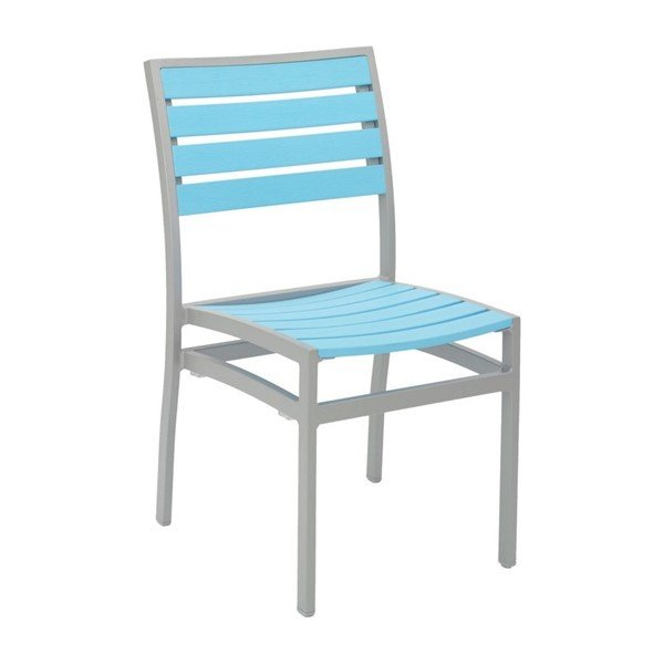 Tropical Breezeway Outdoor Restaurant Dining Chair With Stackable Aluminum Frame And Faux Teak Seat