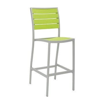Tropical Breezeway Outdoor Restaurant Bar Height Chair With Stackable Aluminum Frame And Faux Teak Seat