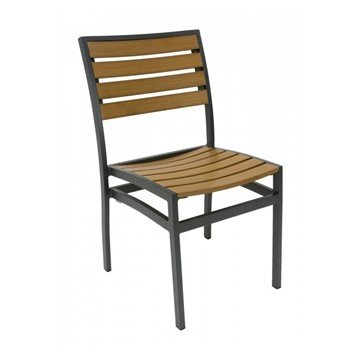 Classic Breezeway Outdoor Restaurant Dining Chair With Stackable Aluminum Frame And Faux Teak Seat