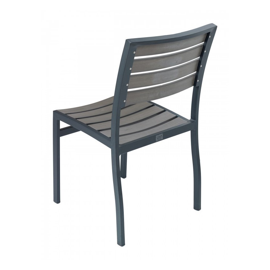 ... Classic Breezeway Outdoor Restaurant Dining Chair With Stackable  Aluminum Frame And Faux Teak Seat