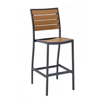 Classic Breezeway Outdoor Restaurant Armless Bar Height Chair With Aluminum Frame And Faux Teak Seat